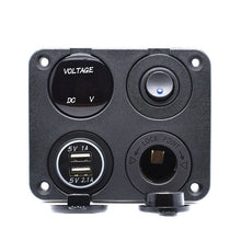 Load image into Gallery viewer, Car RV Boat Marine Switch Panel LED Voltmeter Dual USB Cigarette Socket 12V/24V - Boat-yard.com