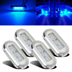 4pcs 12V Blue LED Courtesy Light Yacht Marine Boat Cabin Deck Lamp Waterproof - Boat-yard.com