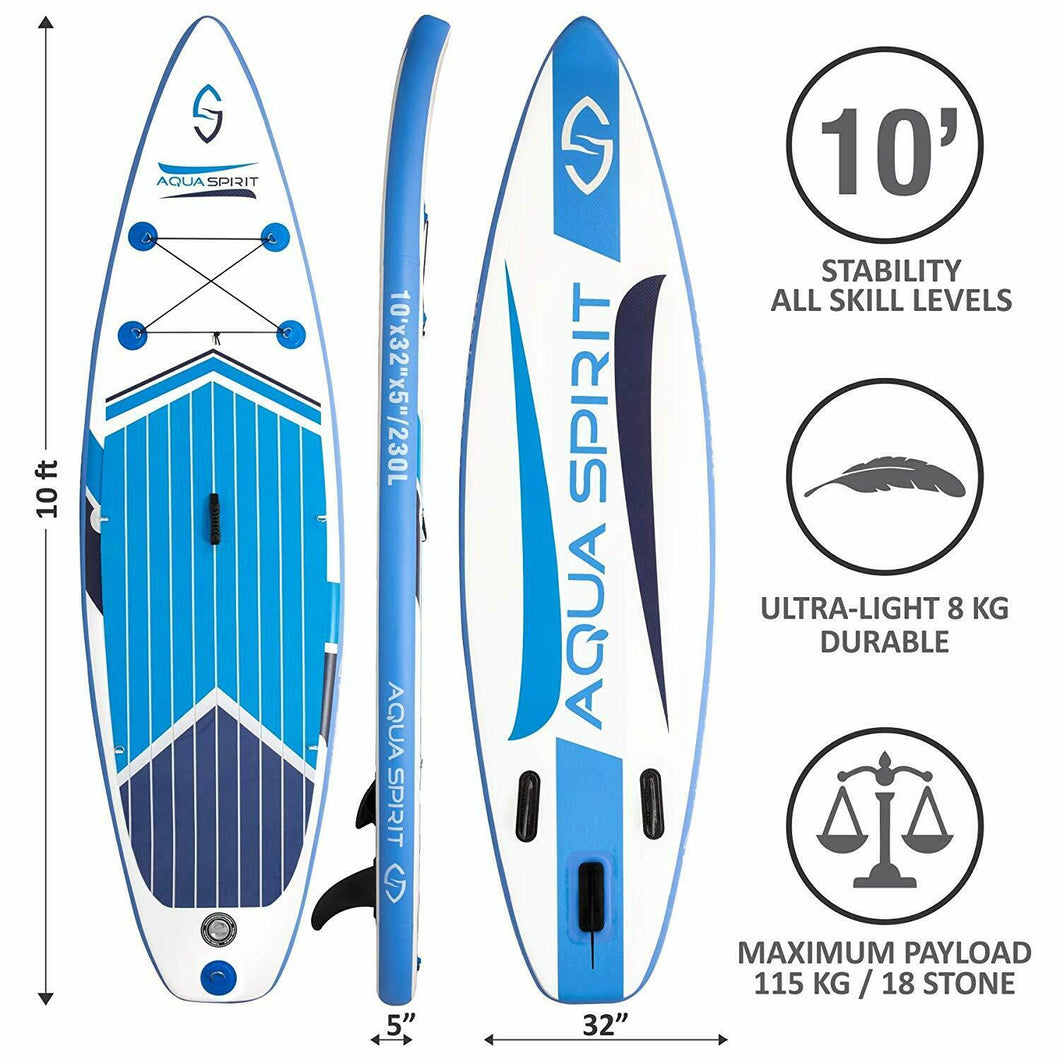 Aqua Spirit iSUP / Inflatable SUP Stand Up Paddle Board Full Set - 10-11FT 5-6