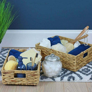 Boat storage basket Water Hyacinth Rectangular Shallow Storage Basket Wicker Tray Hamper Handles - Boat-yard.com