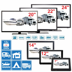 "7"" - 24"" Digital TV 12v 240v for Motorhome Caravan Boat DVB-T2 Freeview PVR - Boat-yard.com"
