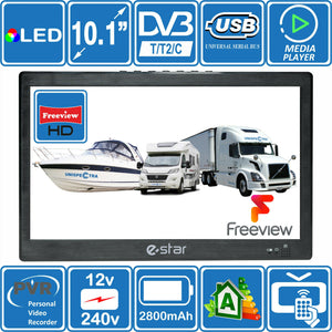 "eStar 10"" Inch Portable HD TV 240 & 12V DVB-T2 Freeview Motorhome Caravan Boat - Boat-yard.com"