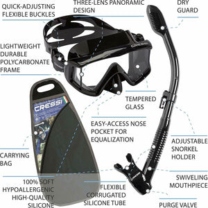 Cressi Ultra Dry Mask Snorkel Set Scuba + Free Diving Equipment Splash Guard - Boat-yard.com
