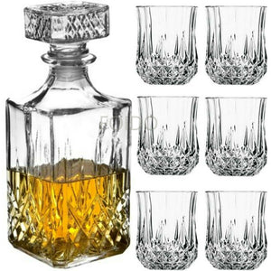 6 x 200ML GLASS WHISKEY WINE TUMBLERS & SQUARE GLASS DECANTER BOTTLE BOXED SET - Boat-yard.com