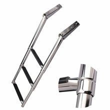 Load image into Gallery viewer, Stainless Steel Folding Boat Boarding Ladder 3 Steps Marine Telescopic Ladder UK - Boat-yard.com