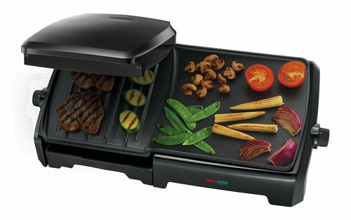George Foreman 23450 10-Portion Entertaining Grill and Griddle, 2180 W, Black - Boat-yard.com