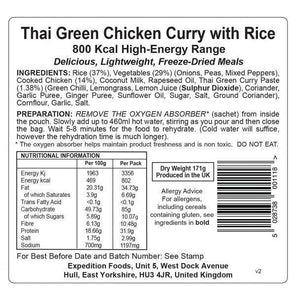 Boat meals  6 x Expedition Foods Thai Green Chicken Curry with Rice (800kcal) - Boat-yard.com