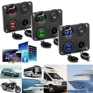 Car RV Boat Marine Switch Panel LED Voltmeter Dual USB Cigarette Socket 12V/24V - Boat-yard.com