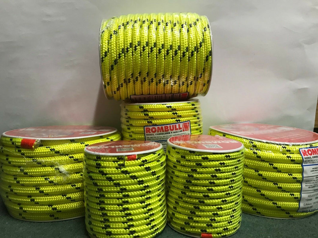 Fluorescent rope 100% Polyester double braided, sailing control line, camping, - Boat-yard.com