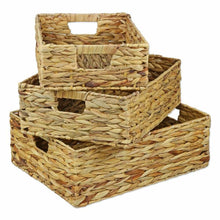 Load image into Gallery viewer, Boat storage basket Water Hyacinth Rectangular Shallow Storage Basket Wicker Tray Hamper Handles - Boat-yard.com