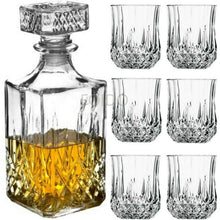 Load image into Gallery viewer, 6 x 200ML GLASS WHISKEY WINE TUMBLERS & SQUARE GLASS DECANTER BOTTLE BOXED SET - Boat-yard.com