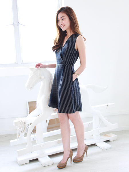 Cherith Overlap Dress in Stripe