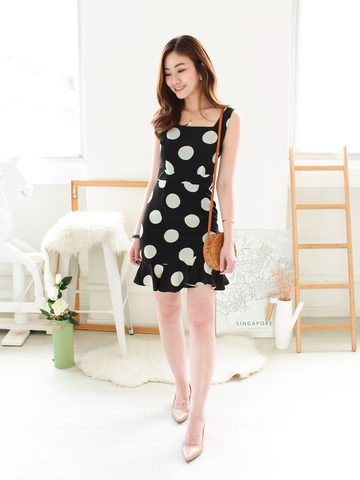 Mollie Polka Dress in Black