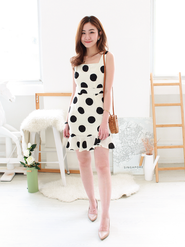 Mollie Polka Dress in Cream