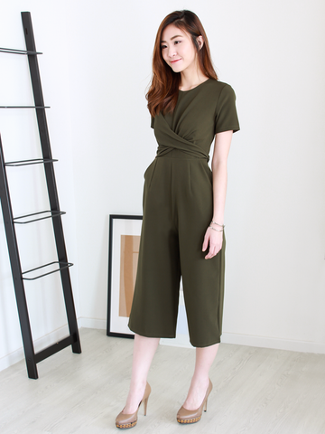 Leona Criss-Cross Tie Romper in Olive