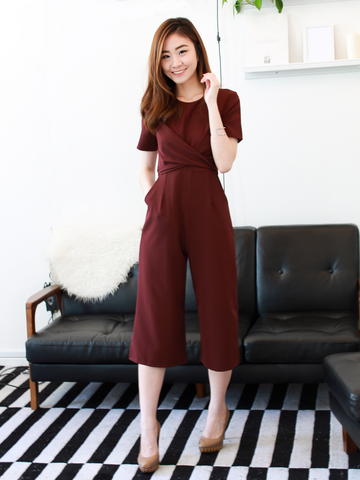 Leona Criss-Cross Tie Romper in Wine