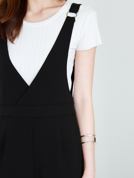 Tyler Pinafore Jumpsuit in Black