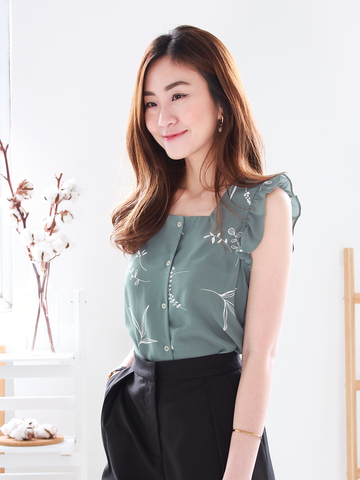 (BACKORDER) Foliage Printed Top in Sage