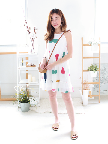 Joy Drop-waist Dress in White
