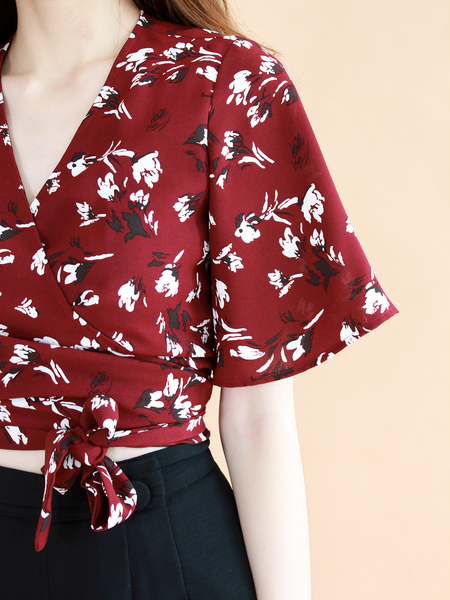 Julius Wrap Top in Wine Printed | *MADEBYWC