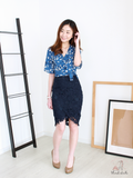 Randell Crochet Overlap Skirt in Navy | *MADEBYWC