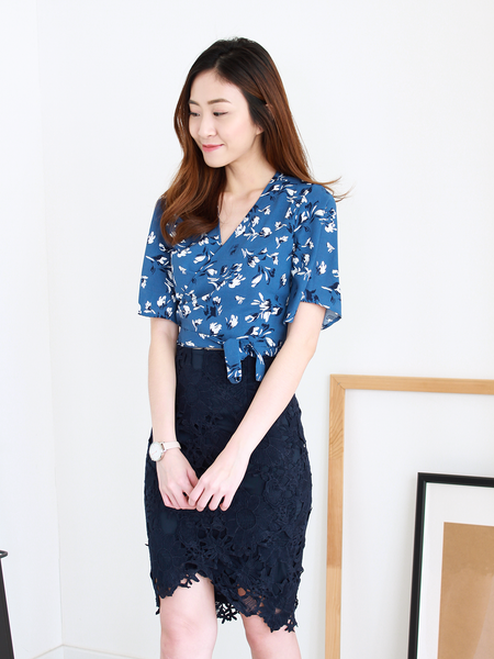 Julius Wrap Top in Blue Printed | *MADEBYWC