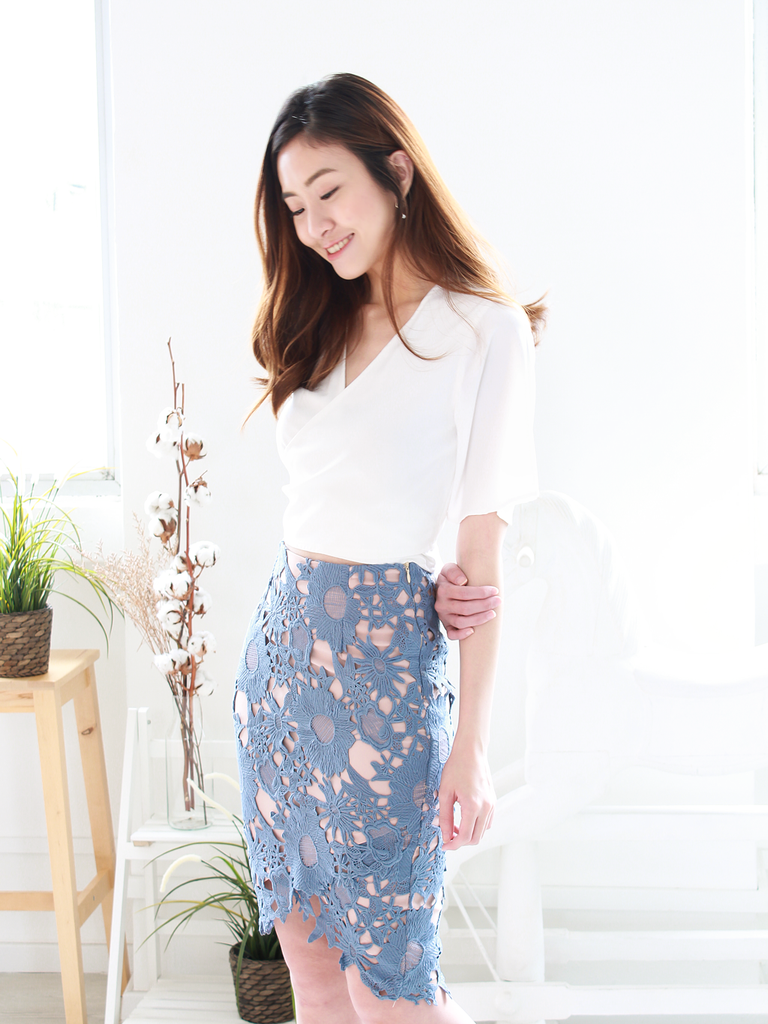 Randell Crochet Overlap Skirt in Dusty Blue | *MADEBYWC
