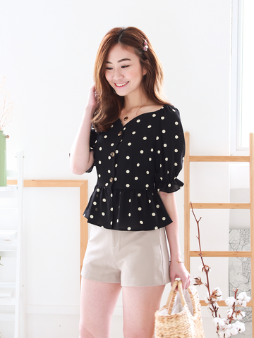 Hendrie Polka Top in Black