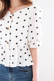 Hendrie Polka Top in White