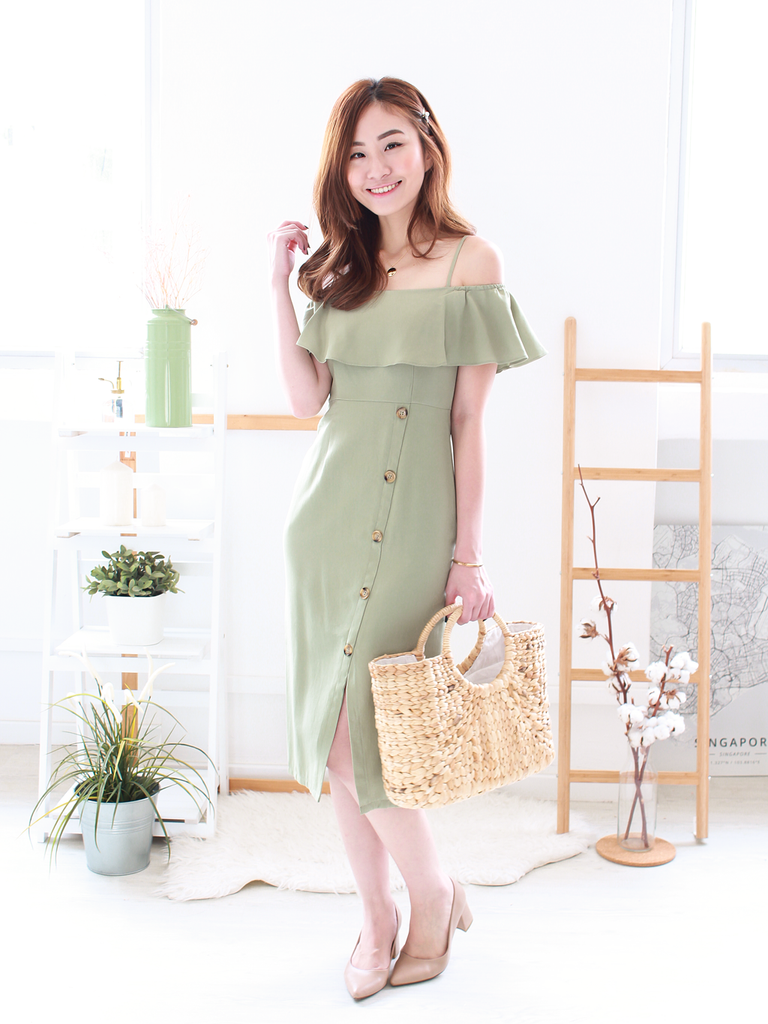 Cameron Slit Dress in Sage