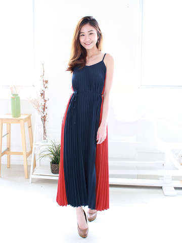 Winston Pleated Maxi in Navy/Rust