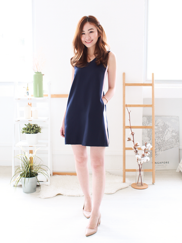 Emmett Tie-back Shift Dress in Navy/Mauve | *MADEBYWC