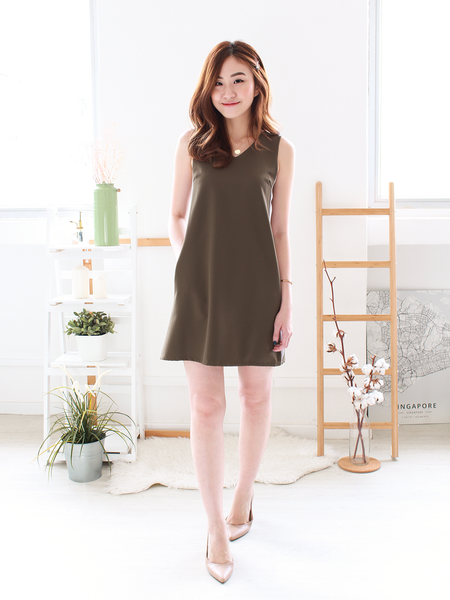 Emmett Tie-back Shift Dress in Olive/Grey | *MADEBYWC