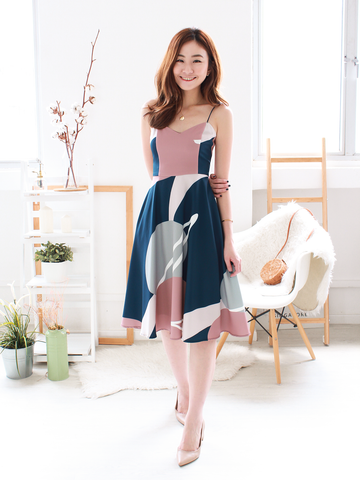 Keran Graphic Swing Midi in Navy | *MADEBYWC