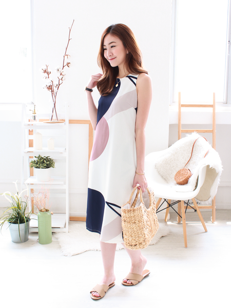 Keran Graphic Slit Midi in White | *MADEBYWC