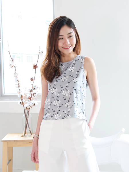 Tristan Crossover Top in Grey Floral | *MADEBYWC
