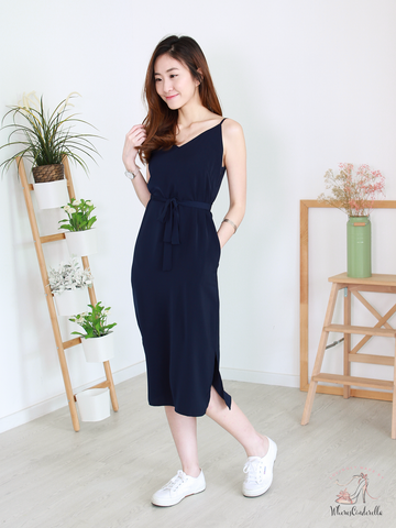 (BACKORDER) Shayne Slit Midi in Navy | *MADEBYWC