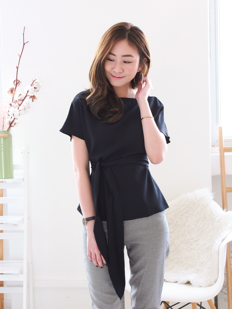 Oliver Sash Blouse in Black
