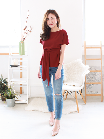 Oliver Sash Blouse in Wine