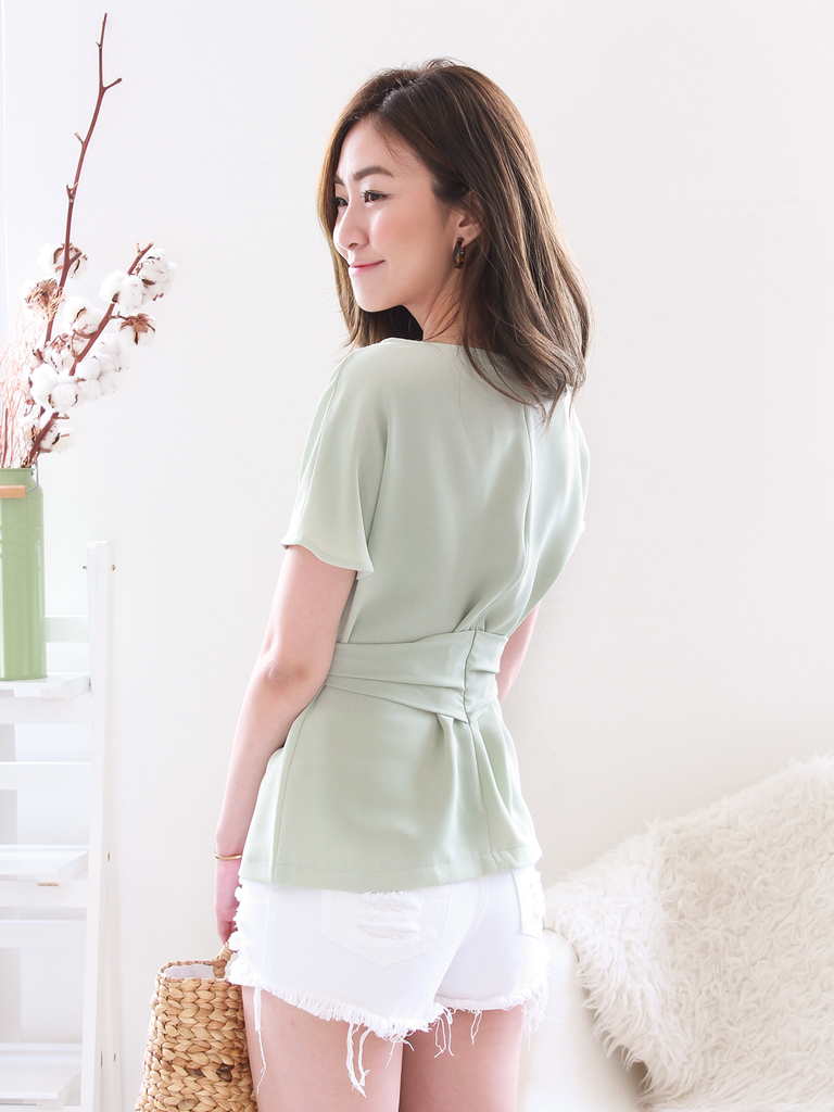 Oliver Sash Blouse in Sage