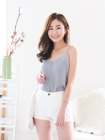 Sonny Button Top in Ash Blue