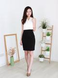 Klara Overlap Dress in White/Black