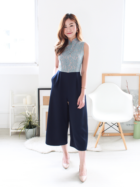 Hann Lace Jumpsuit in Dusty Blue