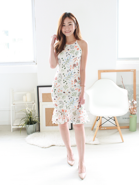 Botany Printed Mermaid Lace Dress in White