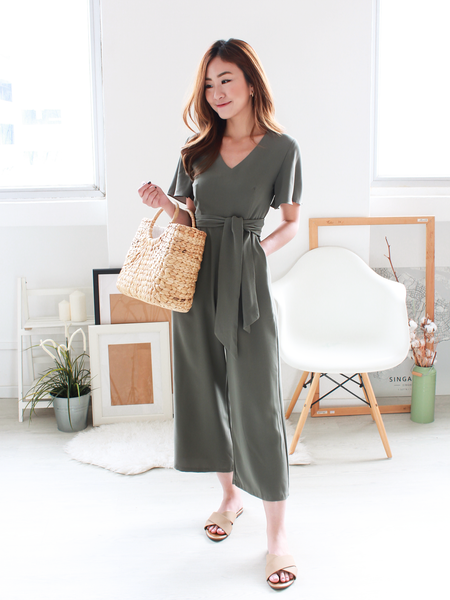 Flynn Fluttersleeve Tie Jumpsuit in Olive | *MADEBYWC