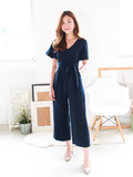 Kath Floral Slit Jumpsuit in Navy