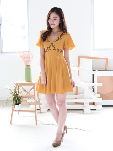 Wildflowers Embroidered Dress in Marigold