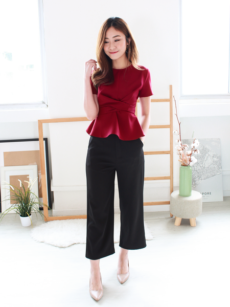 Kylo Peplum Tie Top in Wine Red | *MADEBYWC