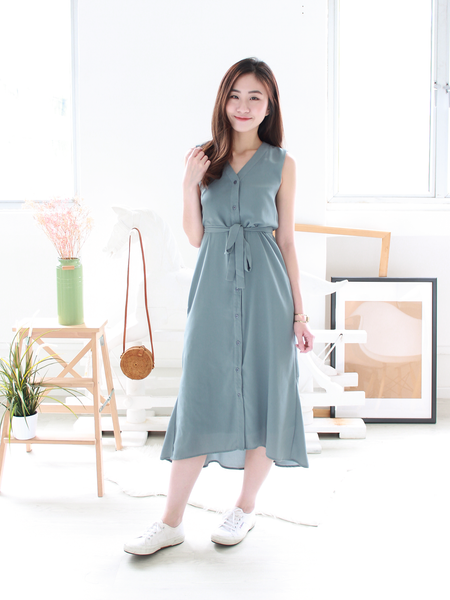 Mathilda Mermaid-Tail Midi Shirt Dress in Seafoam Grey | *MADEBYWC