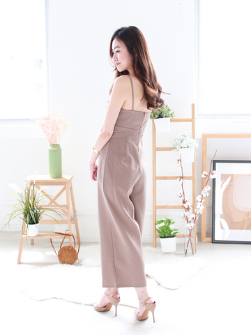 Byron Gingham Jumpsuit in Brown